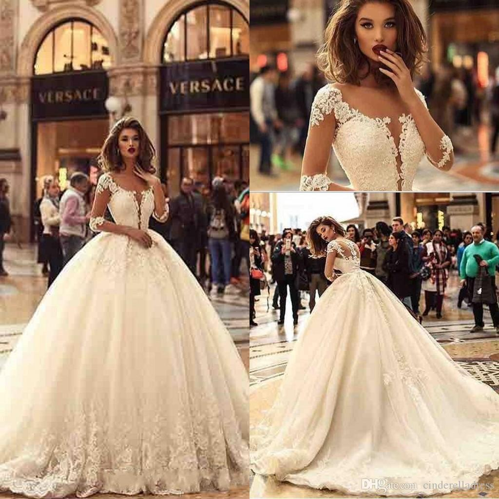 2018 Designer New 1/2 Long Sleeves Tulle Ball Gown Wedding Dresses ...