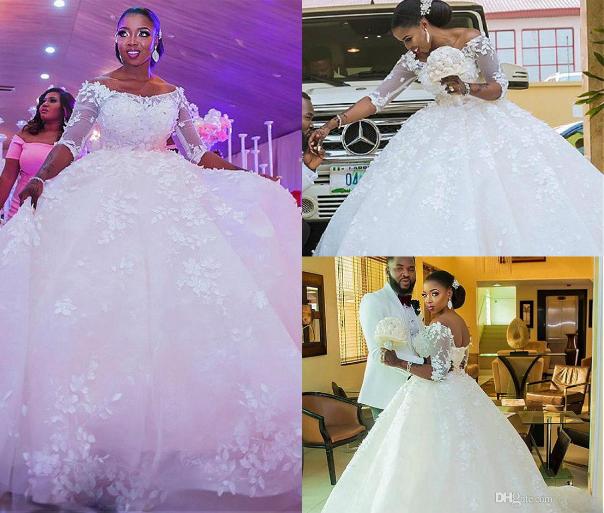 9779feda22086 2018 African Plus Size Wedding Dresses 3D Floral Applique Beaded Off  Shoulder Ball Gown Wedding Dress 3/4 Long Sleeve Country Bridal Gown  Wedding Dresses ...