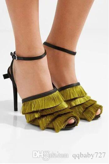 Fashion New 2018 Womens Gladiators Peep toe Hunter Army Green Tassel Fringe Pumps Feminino Stiletto heels