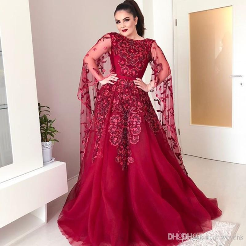6a4e30422c81 2019 Abric A Line Evening Dresses With Cape Sleeve Jewel Neck Formal  Evening Wear Appliques Sweep Train Tulle Celebrity Gowns Lace Long Evening  Dresses ...