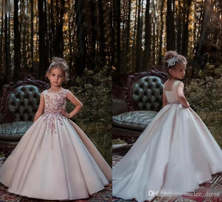 3a8ceca78be 2018 New Square Neck Flower Girl Dress Satin Straps Lace Applique Kids Girls  Pageant Gown Birthday Party Dresses Flower Girl Dresses Tulle Flower Girl  ...