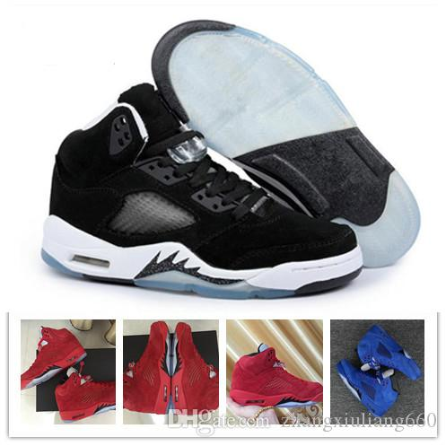 brand new ca4e2 dccb1 Großhandel Nike Air Jordan 5 Aj5 Retro Günstige 5 5s Basketball Schuhe  Männer Frauen V Rot Wildleder Zement Oregon Enten Olympische Grape Raptors  Pro ...