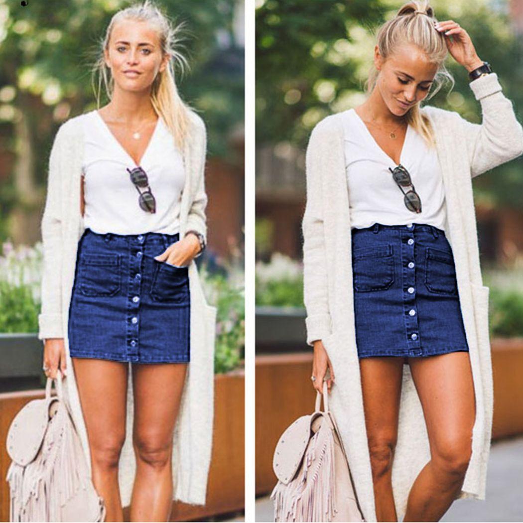 d2ec514af2 Compre Moda Saias Jeans Mulheres Sexy Botão De Cintura Alta Saia De Jeans  Azul Bodycon Verão Feminino Lápis Mini Saia Faldas Mujer De Duanhu