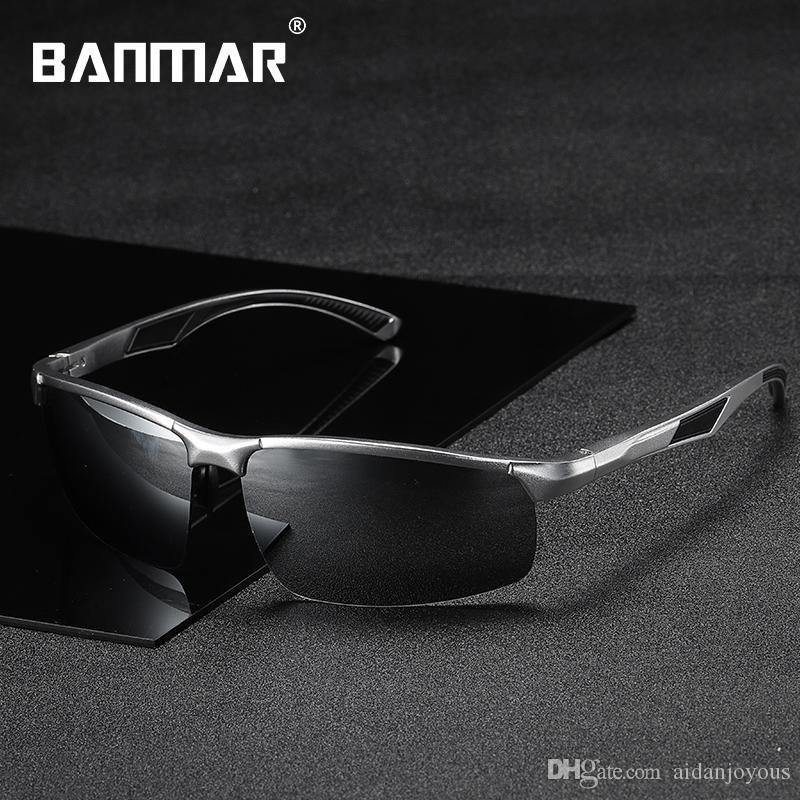 2e5d637261213 Compre Banmar Homens Polarizados Óculos De Sol De Alumínio E Magnésio Óculos  De Sol Óculos De Condução Sem Aro Máscaras Para Homens Oculos Masculino ...