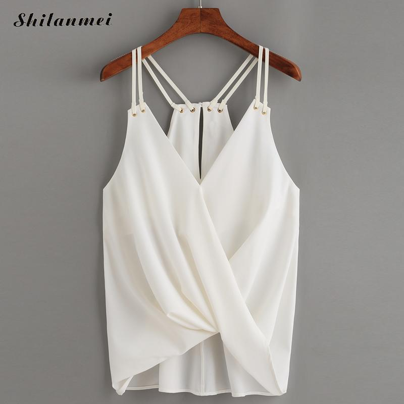0bdea80853959 2019 Fashion Cami Top Korean Style 2017 Summer Female Sexy Plain White  Spaghetti Strap Cross Camisole Tank Top Chiffon For Women From Xiatian8