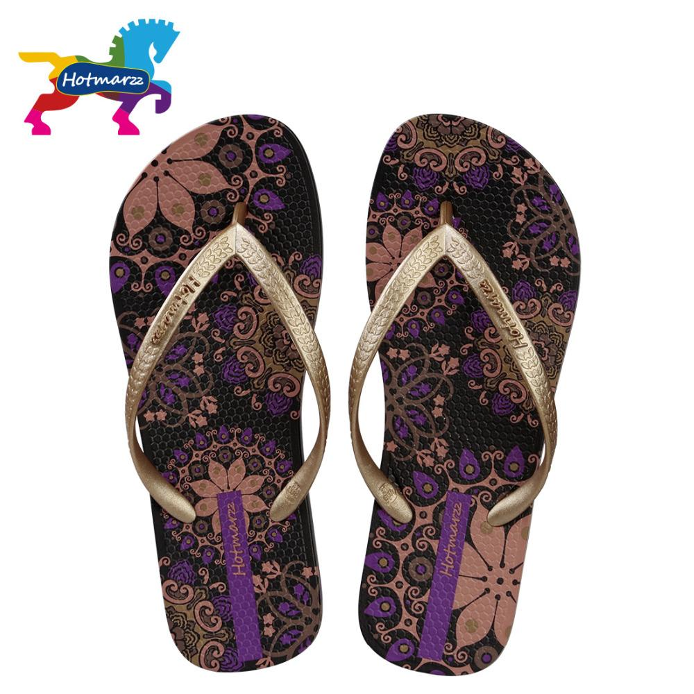 0b1ad688c45 Hotmarzz Women Beach Flip Flops Bohemia Floral Summer Slippers Ladies 2017 Fashion  Sandals Shower Slides Boys Slippers Acorn Slippers From Fenxin