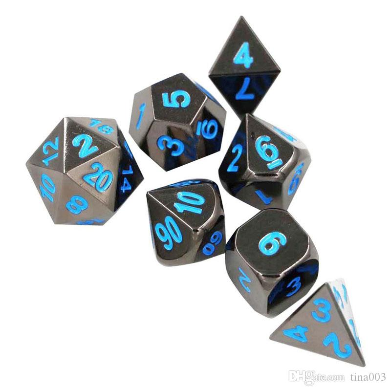 Metal Dice Polyhedral Dice D20 D12 D10 D8 D6 D4 for Dungeons and Dragons , Role Playing Game Dice