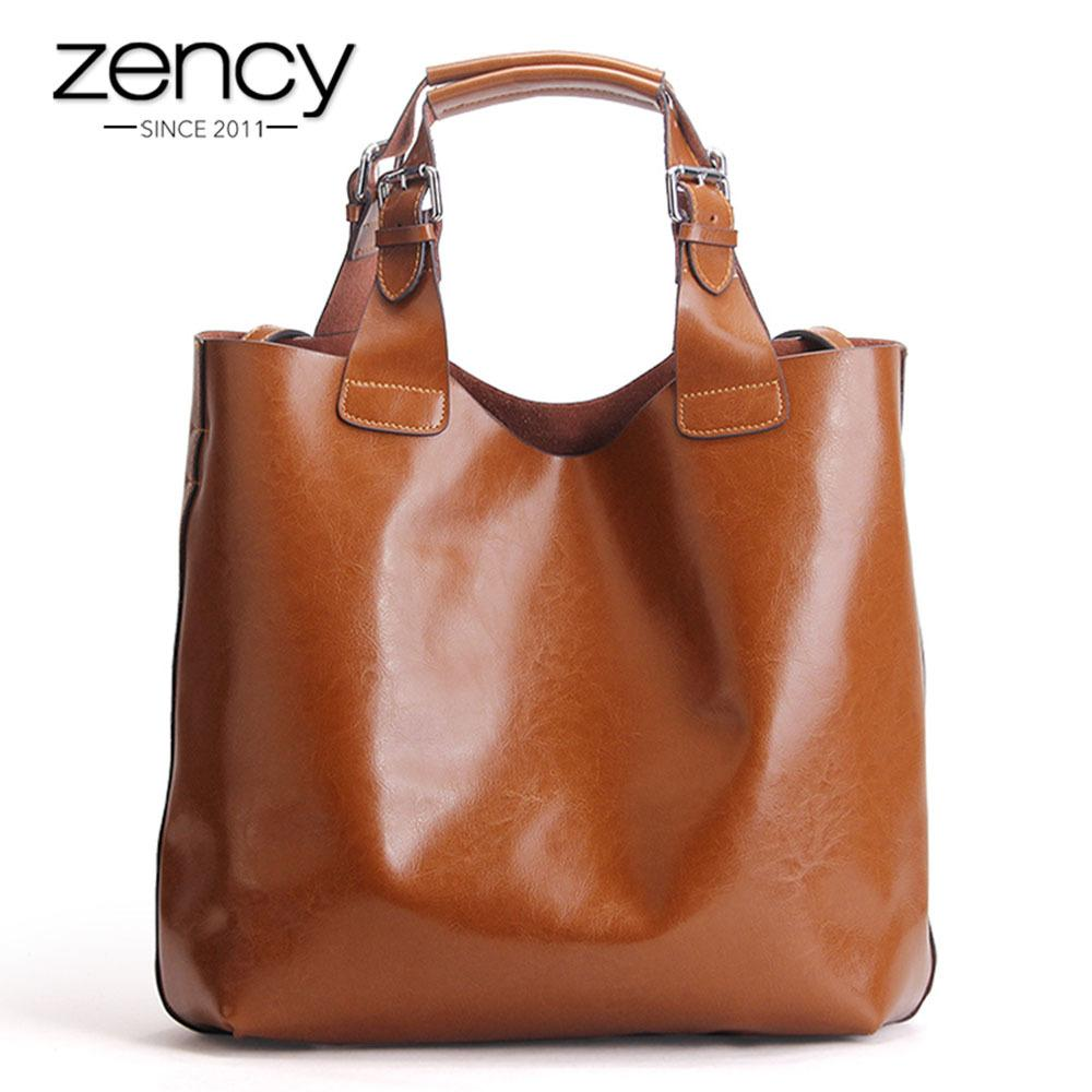 Zency 100% Genuine Leather Retro Brown Women Handbag Lady Big Tote Bag  Laptop Classic Coffee Female Shoulder Bags Shopping Purse D18101303 Purses  Designer ... c10a42d753a17