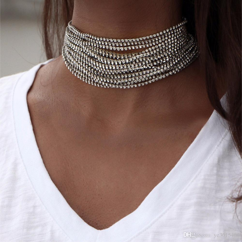 Multiple Layers Rhinestone Crystal Choker Necklace for Women New ... 4fa71308692a