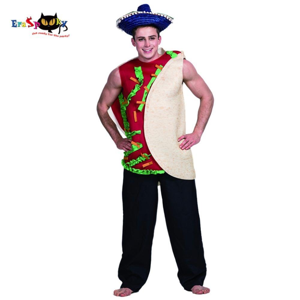 e6660f140 Compre Men Hamburger Sandwich Taco Mexicana Traje Carnaval Festa Adulto  Masculino Cosplay Outfits Roupas Trajes De Halloween De Philipppe