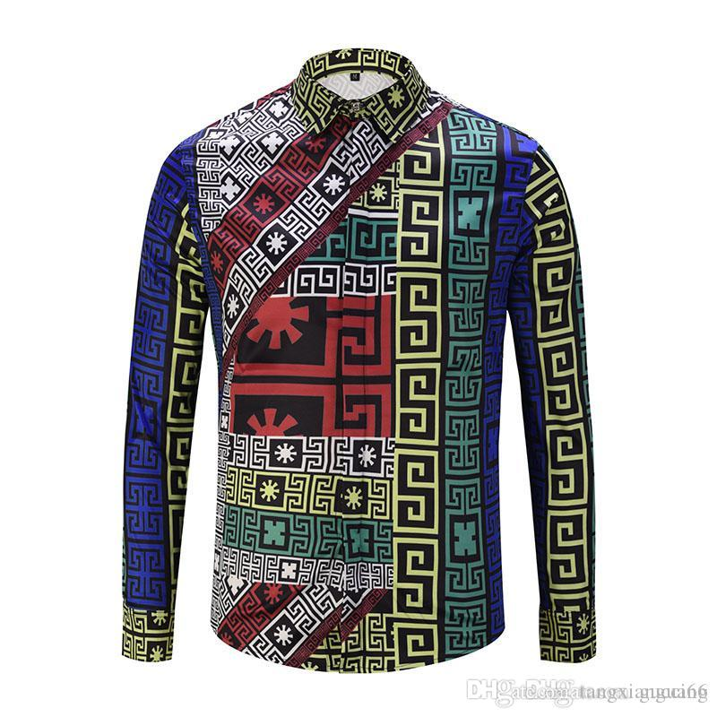 deccf8fa231 Luxury Men Shirt 2018 Brand New Striped Dress Shirts Long Sleeve ...