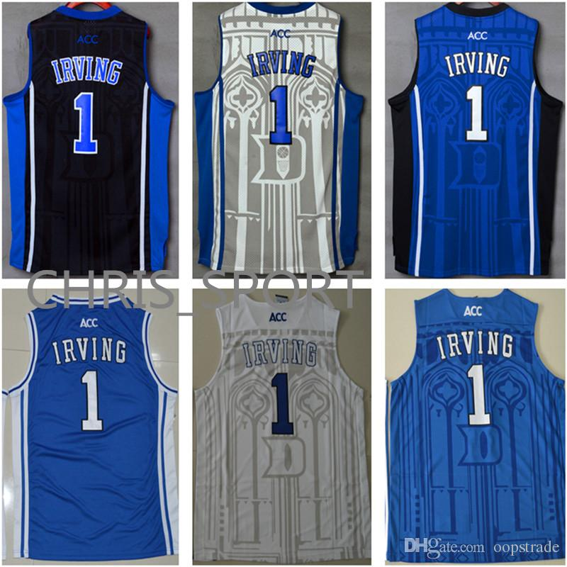 3ffe88fc7d4 2019 Duke College Custom Jerseys Blue Devils Embroidered Basketball Jerseys  Kyrie Irving  1 Player White Blue Black Boston Uniform From Oopstrade