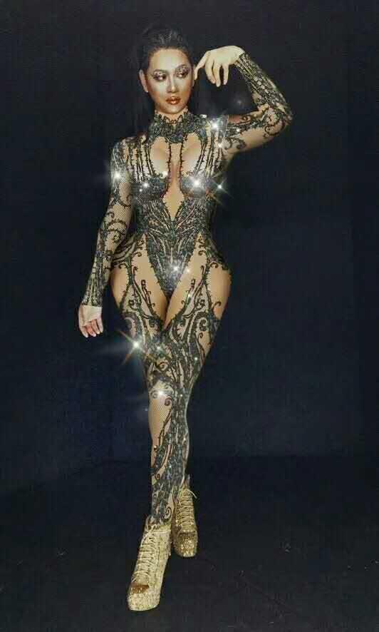 DJ Songbird Sexy Black Nude Rhinestone Jumpsuit Sexy Discoteca Bar Wear Stones Body Leggings Prom Celebrate Outfit Performance Dress