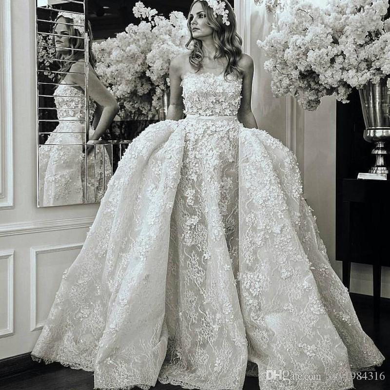 3fd8e108f2db Fabulous Lace Ball Gown Wedding Dress Simple Strapless Beads Lace Applique  Vestido De Novia Bridal Dress Gorgeous Dubai Wedding Gown Cheap Backless  Dresses ...