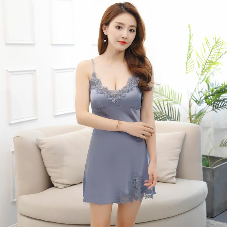 2019 Sexy Ice Imitation Silk Sleeping Dress Women Summer Soft V Necked Sling  Pajamas Embroidered Lace Open Fork Household Clothes Wholesale From  Wildrose021 ... a08af2ac6