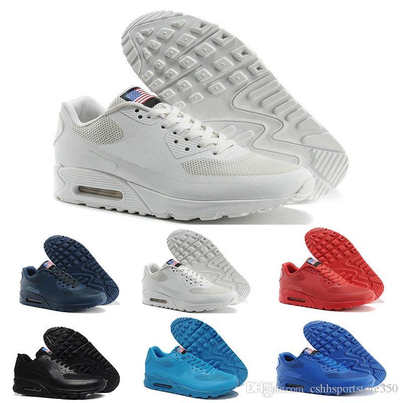 sale retailer 4e6c9 c5ed5 Acheter Nike Air Max 90 Flag America Nouveau 90 Hyp Prm Qs Hommes Femmes  Chaussures Décontractées Années 90 Drapeau Américain Noir Blanc Rouge  Marine Bleu ...