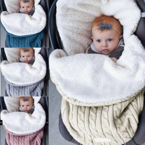 196fa8d8e0 Compre Bolsas De Dormir Para Bebés Algodón De Invierno Crochet Knitting  Manta Gruesa Manta De Pañales De Bebé Caliente Cochecito De Bebé Sleep Sack  KKA5693 ...