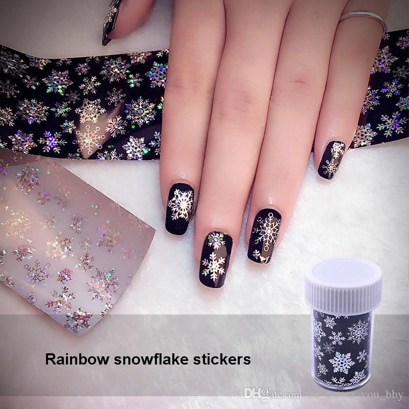 1 Roll 4120cm Holographic Snowflake Nail Foils White Rainbow Snow