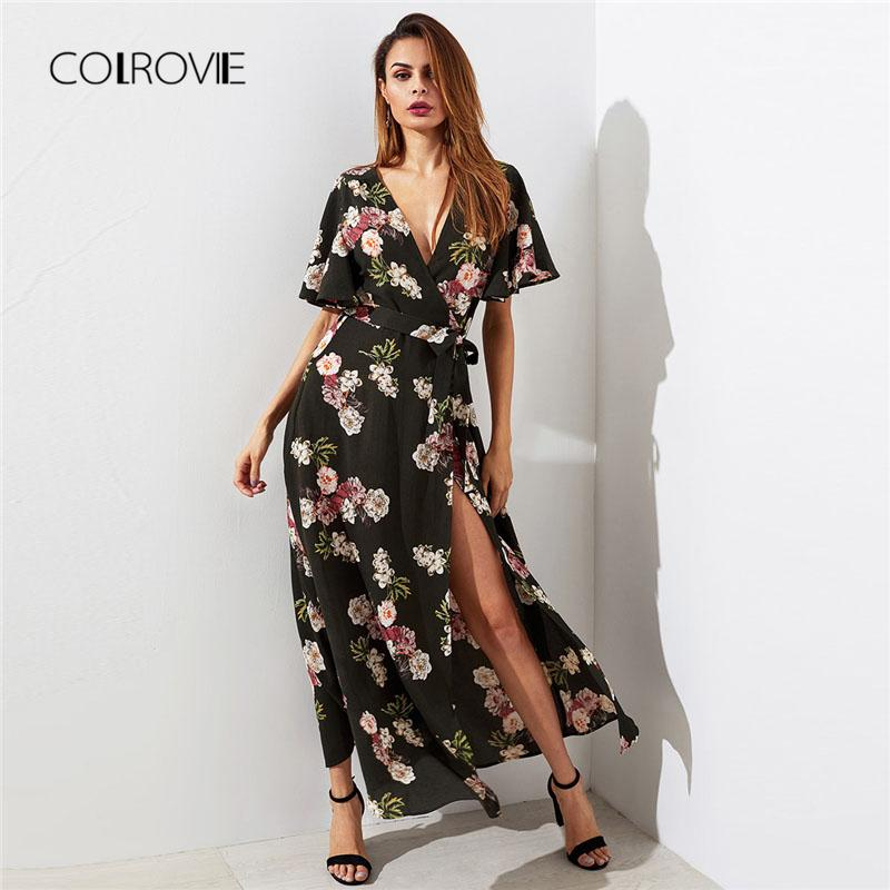 0ac1295a92 COLROVIE Flutter Sleeve Surplice Wrap Woman Dress 2018 Multicolor Deep V  Neck Short Sleeve Shift Dress Belted Floral Dress Y1891307 White Evening  Dresses ...