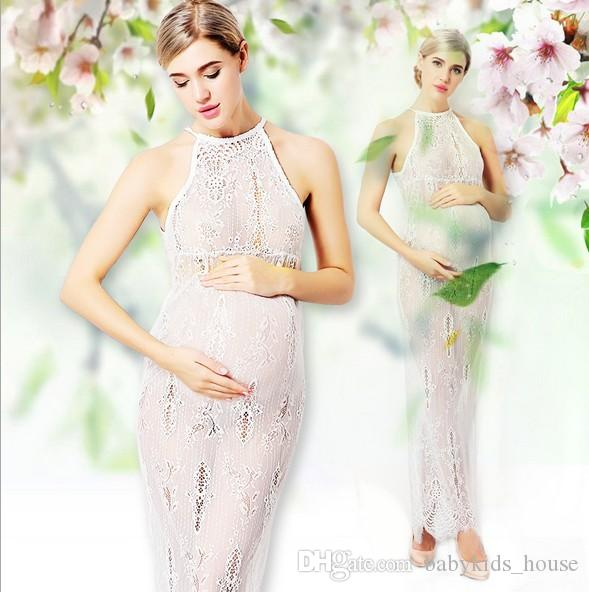 c76ad66534e 2019 Maternity Gown For Photography Clothes Props Lace Pregnant Party  Dresses For Photo Shoots Sleeveless Sexy Maxi Maternity Pregnancy Dress  From ...