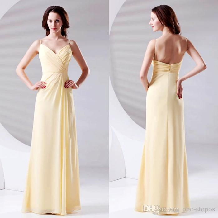 07d5277ce14 Light Yellow Pleats Cheap Chiffon Bridesmaid Dress 2018 Spaghetti Floor  Length Maid of Honor Wedding Guest Dresses Long Evening Gowns ZPT433 Long  Bridesmaid ...