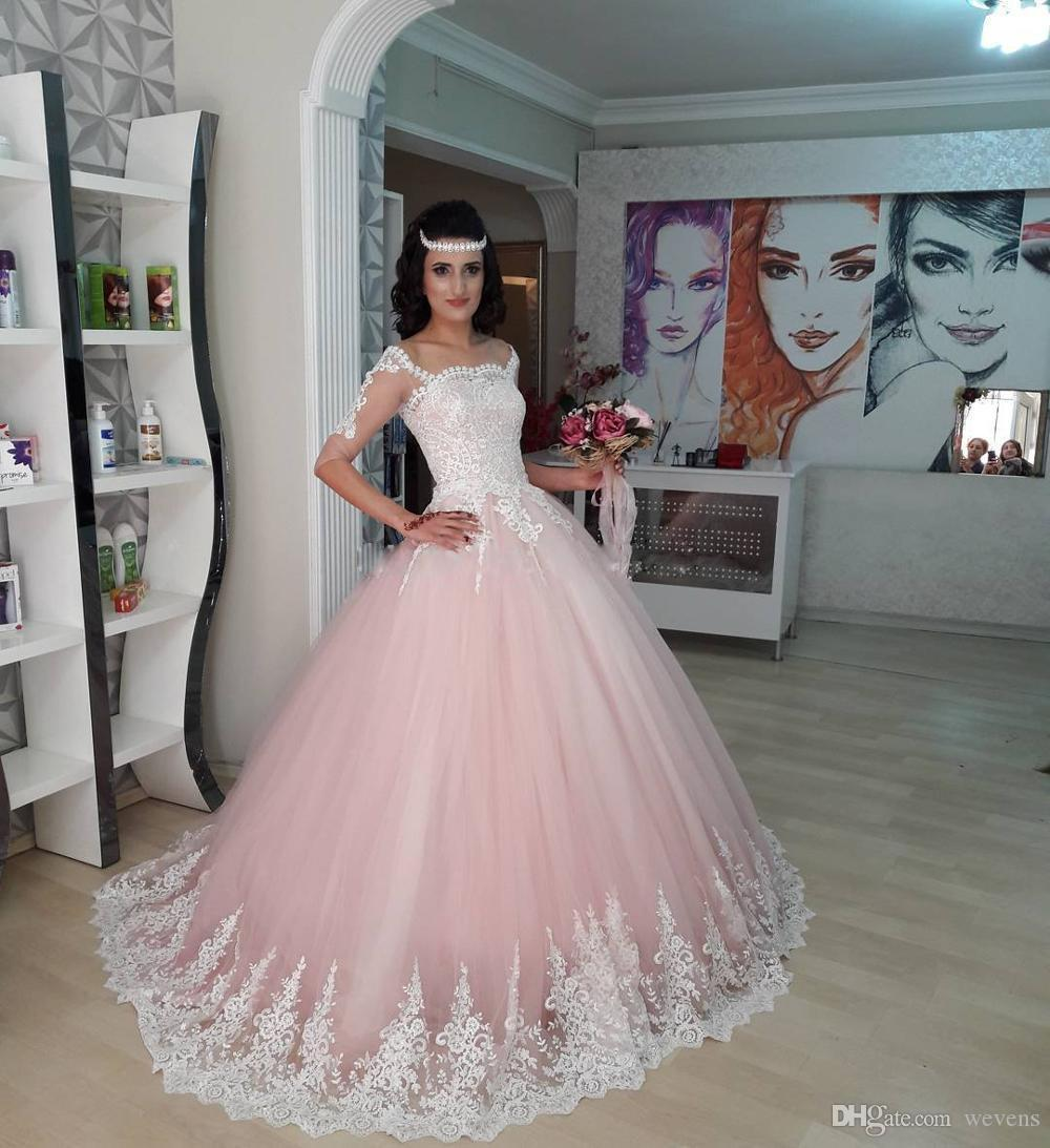 e6ca9abfe2e Light Pink Princess Quinceanera Dresses Square Neck Long Sleeve Junior  Pageant Dress White Lace Appliques Long Vestidos 15 Anos Sweet 16 Dresses  Ball Gown ...