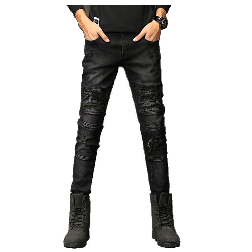 93cc1c79c1 Compre 2018 Nueva Moda Jeans Hip Hop Rock Moto Para Hombre Ropa De  Diseñador Nueva Moda Angustiado Rasgado Flaco Pantalones Vaqueros Del  Motorista De ...