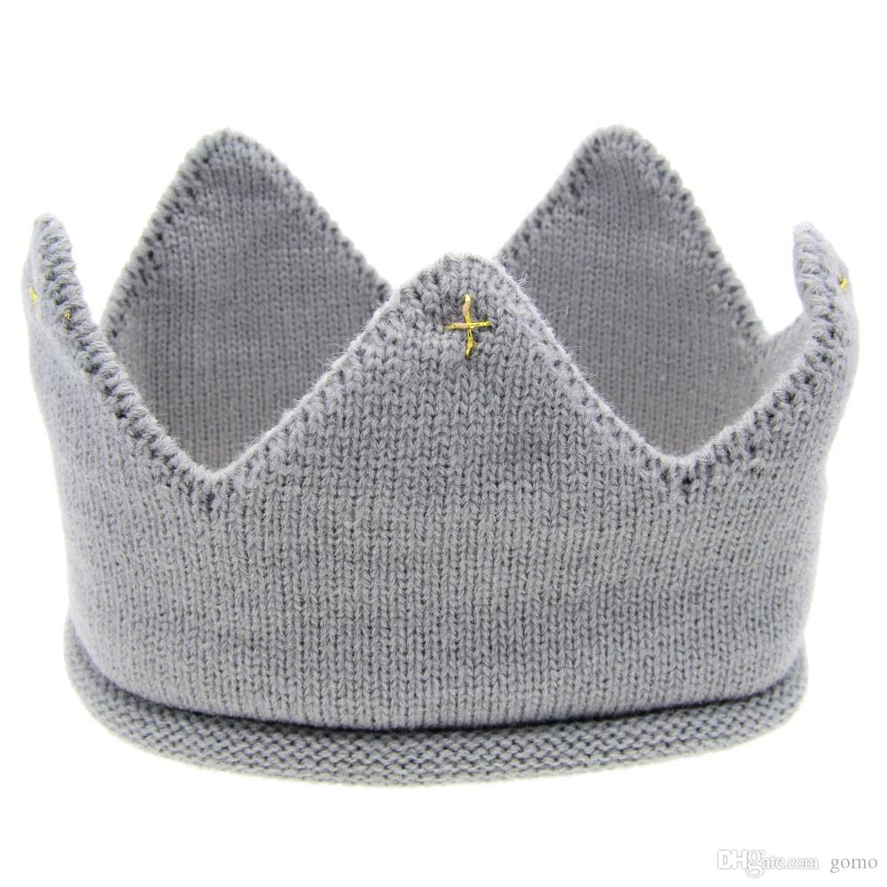 Caliente y agradable diseño Hilados de lana Cute Baby Boys Girls Crown Knit Headband Hathair accesorios sombrero tiaras infantil