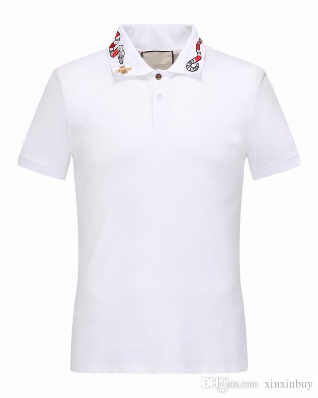 최고 품질 여름 코튼 티셔츠 티백 흰색 뱀 자수 거리 16522 블랙 화이트