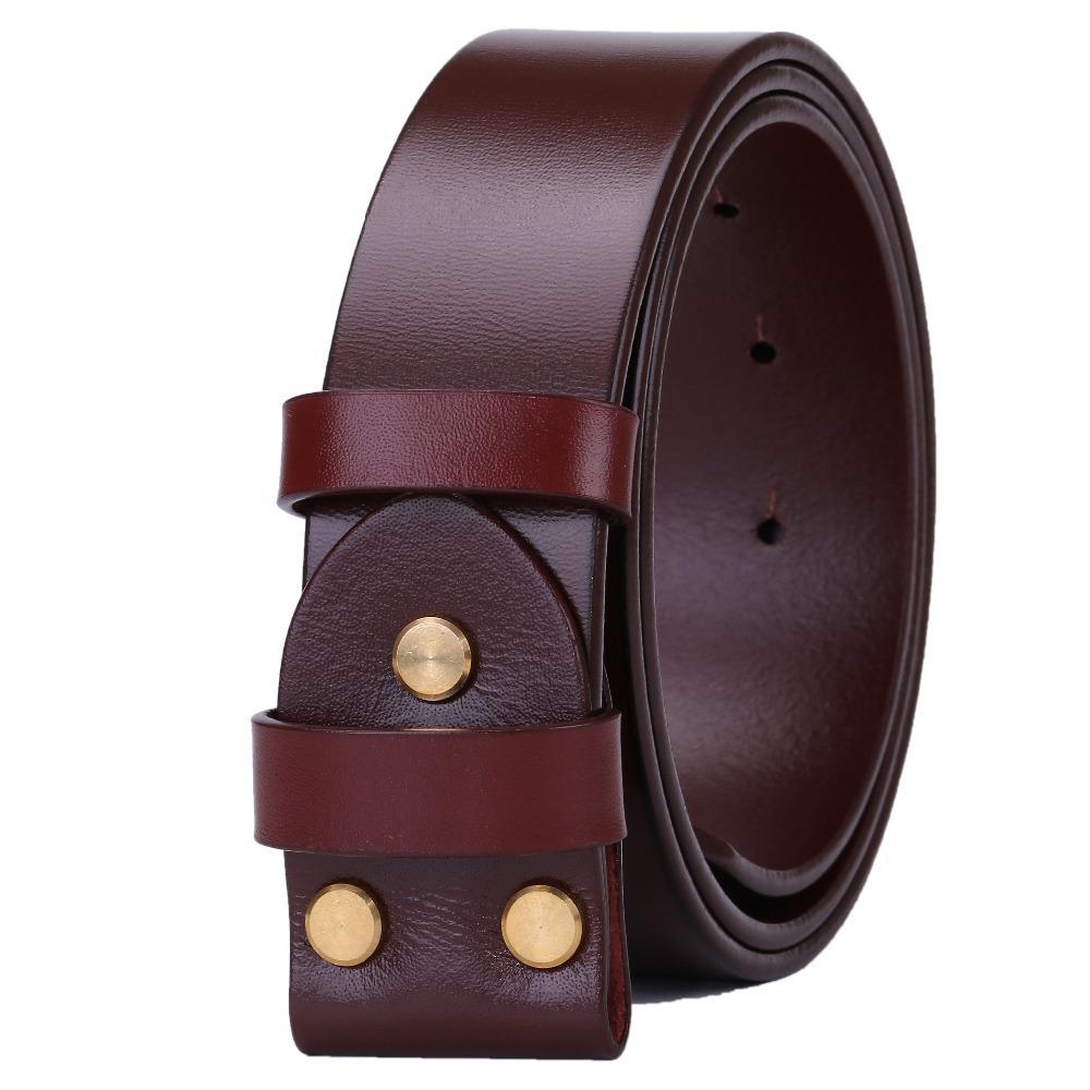 Compre Cinturones Marrones Para Hombres Sin Hebilla Lisa Para Hombre  Cinturón De Lujo Real 100% Cuero Genuino Plena Flor De Vaca Negro De Alta  Calidad ... 43d7f699544f