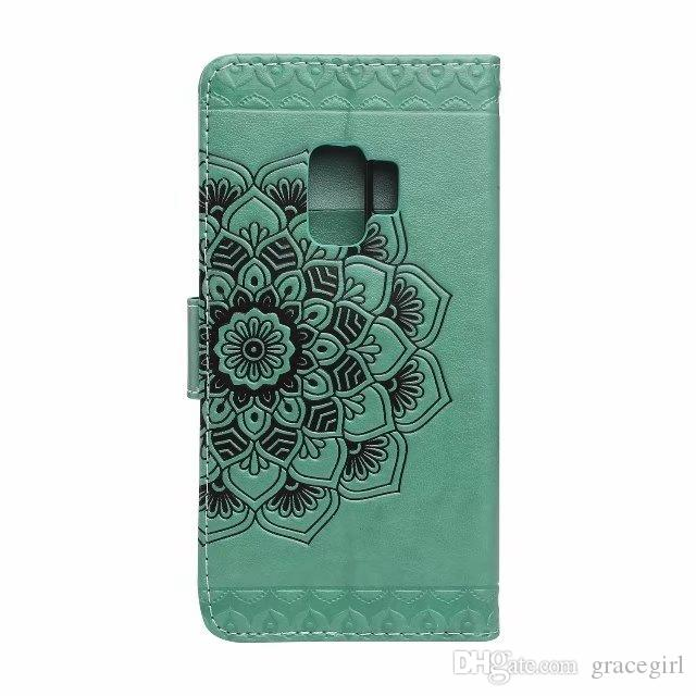 For Samsung Galaxy S9 Plus Mandala Flower Wallet Leather Case Datura Floral Cards Slot Fashion Stand Skin Flip Cell Phone Cover