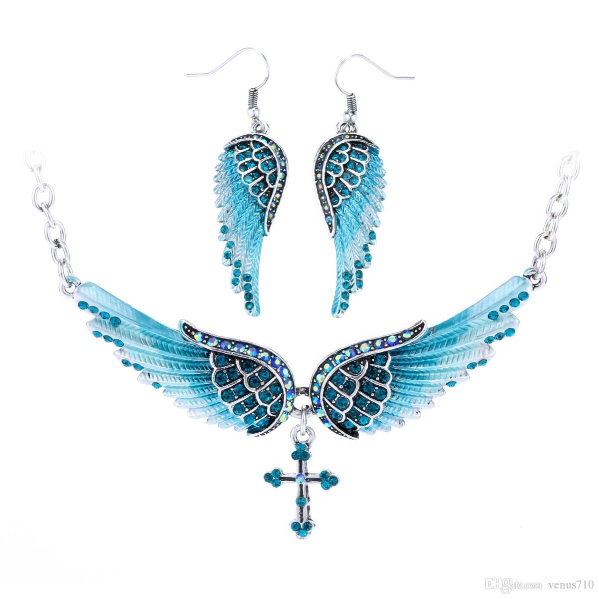 2019 Angel Wing Cross Necklace Earrings Sets Women Biker Jewelry Birthday Gifts For Her Wife Mom Girlfriend Dropshipping NENC01 From Venus710