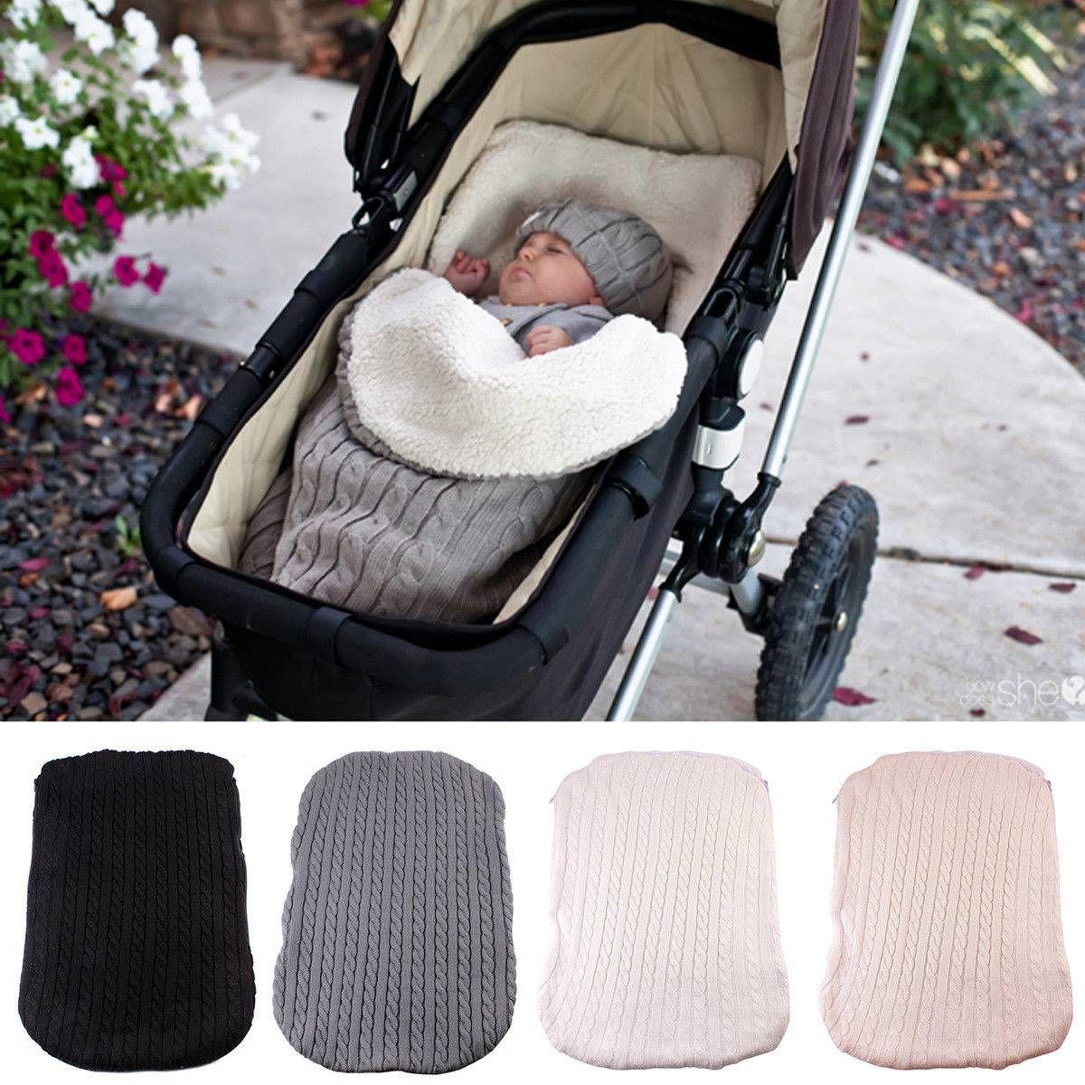 095b39eee 2019 Baby Stroller Sleeping Bag Newborn Autumn Winter Wrap Warm Knitted  Envelope Baby Sweater Winter Suit With Velvet Bags Sleeping Bags For  Toddler Girls ...
