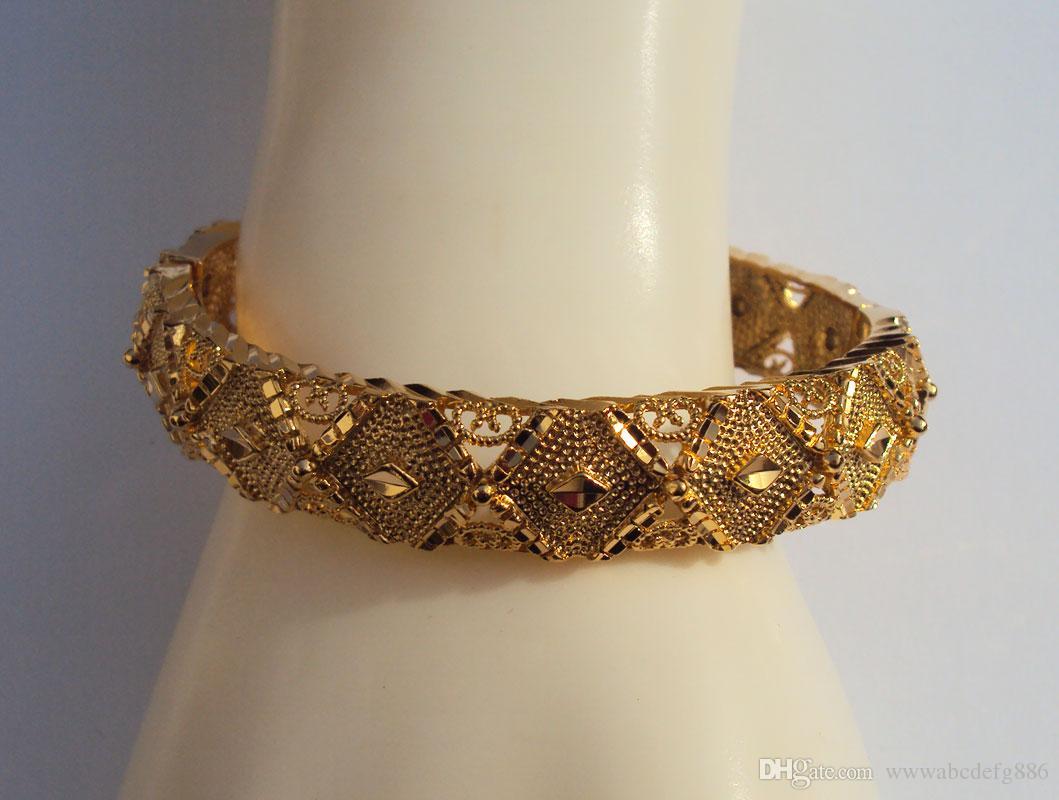 Braid 2 Tone 22K 23K 24K Thai Baht Yellow Gold Plated Filled Bracelet Bangle