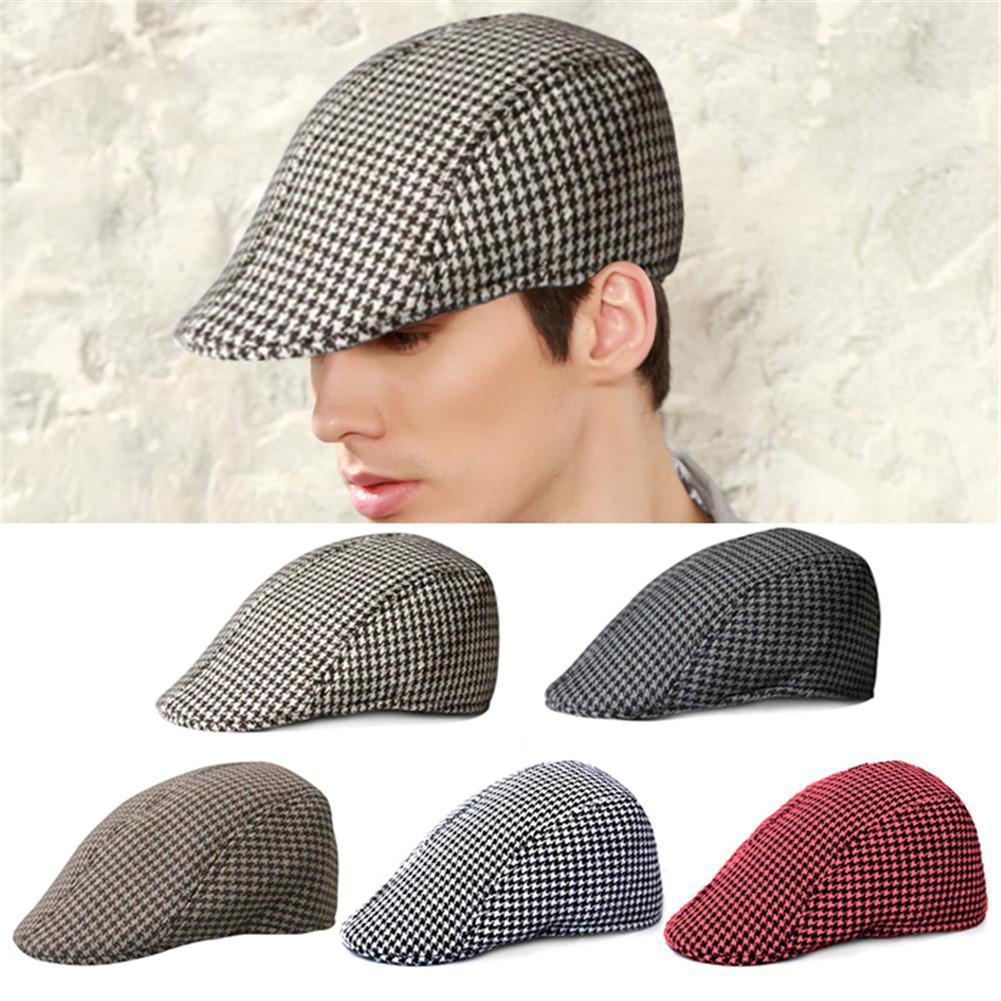 2019 Simple Houndstooth Pattern Outdoor Warm Keeping Golf Beret Flat Cap  Casual Peaked Cap Golf Hat For Men   Women From Rainlnday 87d1c7c731e