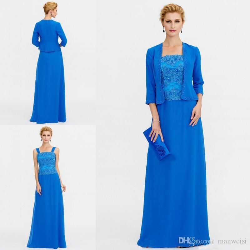 Elegant Blue Mother Of The Bride Dresses With Jacket Beaded Lace