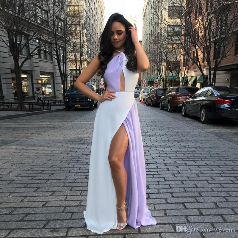 8d0491b29d2 Fashion A Line Front Side Split White And Purple Prom Dresses Halter  Backless Chiffon Beach Skirt Floor Length Women S Casual Gowns Prom Dresses  Shops Prom ...