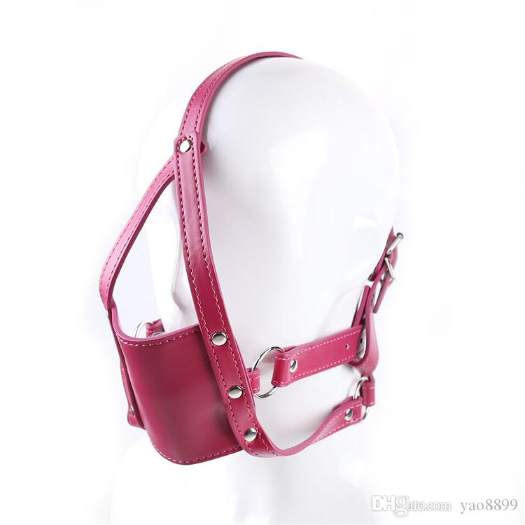 2018 Adult Studded Genuine leather or Faux leather Head Harness Muzzle Gag with Neck Strap Sex Bondage Fetish Restraint Face Mask Punk Hoods