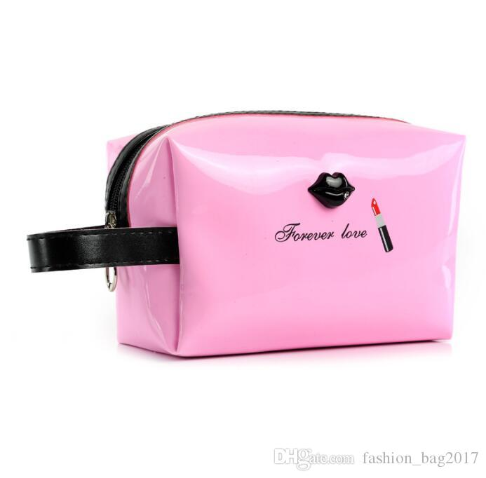 Woman Cosmetic Bag Contracted Lipstick Mouth Handbag Patent Leather Makeup Bag Lady Cosmetic Cases Travel Organizer Bag