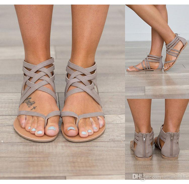 153f12508850 Wholesale Women Fashion Gladiator Sandals For Women Summer Shoes Female  Flat Sandals Rome Style Cross Tied Sandals Shoes Women Walking Sandals  Sandals From ...