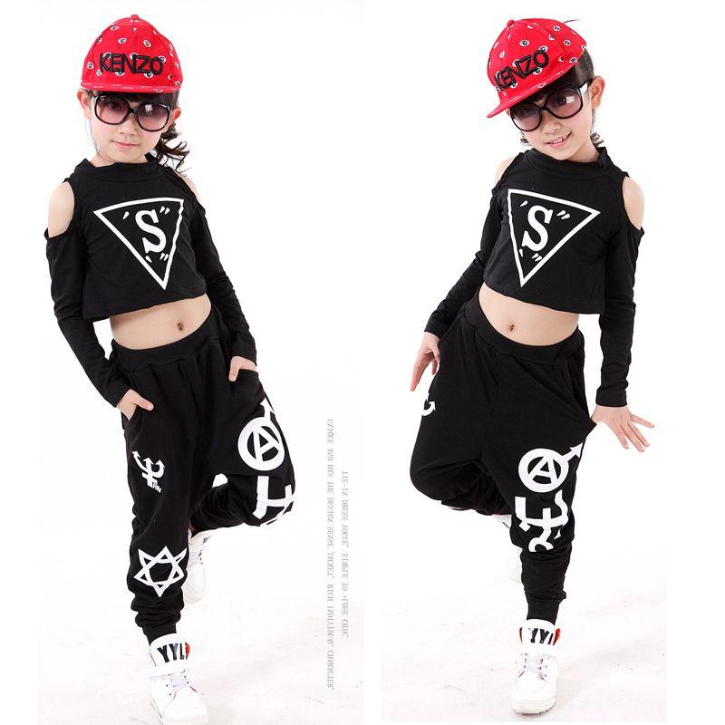9a49d2fc9409e Compre Niños Negro Hip Hop Ropa De Baile Chicas Jazz Tap Bailando Tops +  Pantalones Ropa De Baile Para Niños Salón De Baile Ropa De Fiesta Disfraces  A ...