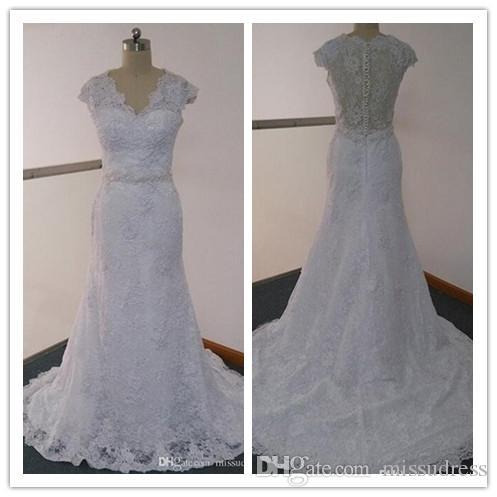 Lastest кружева свадебные платья реальные изображения вдохновленный Sheer V шеи Cap рукавом бисером суд поезд кружева свадебные платья