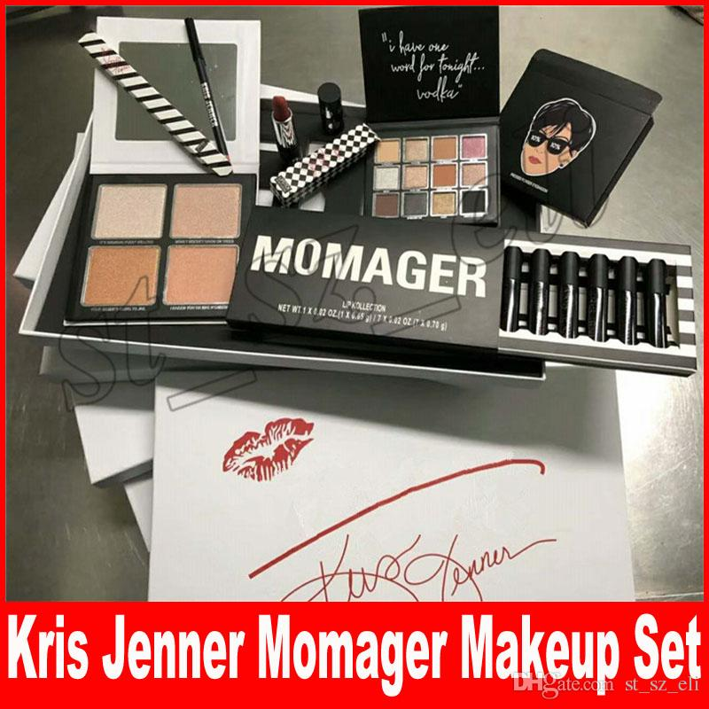 New Kris Jenner MOMAGER makeup set MOMAGER Lip collection Lipgloss Lipstick set Eyeshadow highlighters Mothers Day Gift DHL free