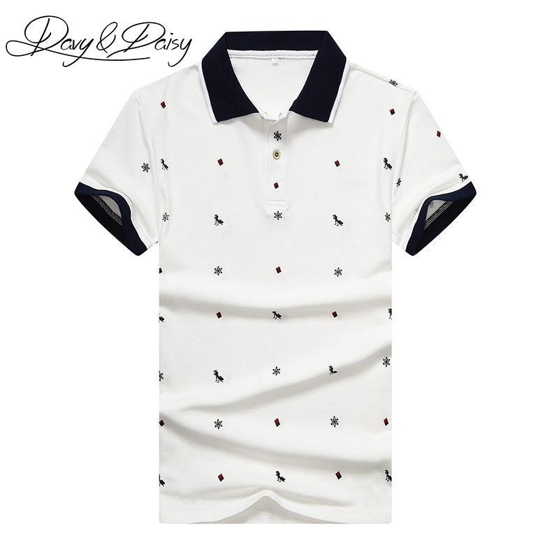 16e4837656c36 Compre Davydaisy Alta Qualidade Pólo Camisa Masculina Slim Fit Mangas  Curtas Ant Polka Dot Impressão Casual Homens Camisa Polo Verão Tops Dts 022  De Felix06 ...