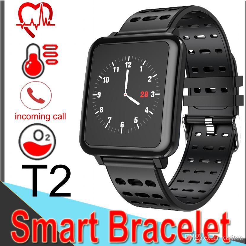 3ab1dcb0a0543 Mejores Smartwatch T2 Reloj Inteligente Pulsera Bluetooth Presión Arterial  Monitor De Ritmo Cardíaco Relojes Rastreador Deportivo IP67 Conectar Iphone  ...