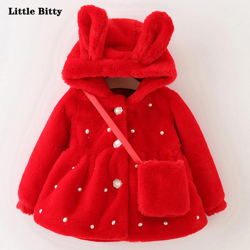 e778865efc13 Winter Baby Coat Hooded Princess Jacket Coat Kids Thick Outerwear + ...