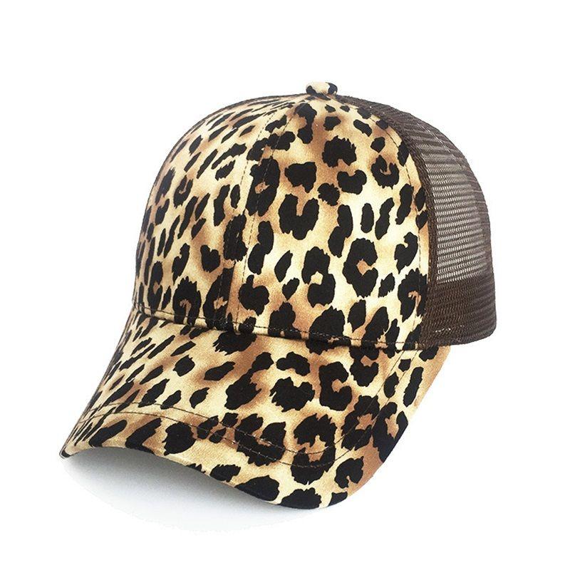 23f8b97b82d Leopard Print Summer Ponytail Baseball Cap Mesh Hats For Women Messy ...