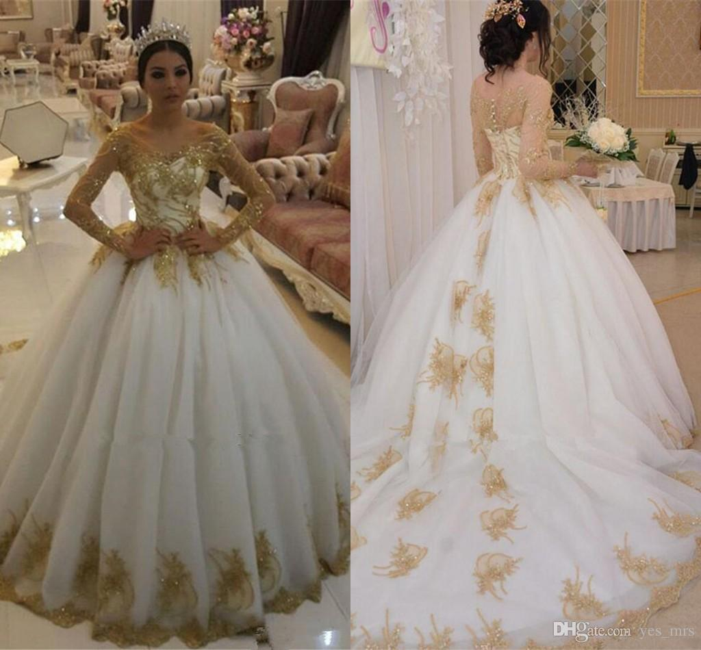 2018 Ball Gown Arabic Lace Long Sleeves Wedding Dresses Dubai Scoop Neck Gold  Applique Beaded Plus Size Button Back Bridal Gowns Court Train Gold Wedding  ... 8c5b97d8c934