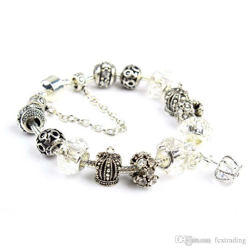 18 19 20 21CM Charm Bracelet 925 Silver plateó Pandor pulseras Royal Crown accesorios púrpura Crystal Bead Diy joyería de la boda con caja