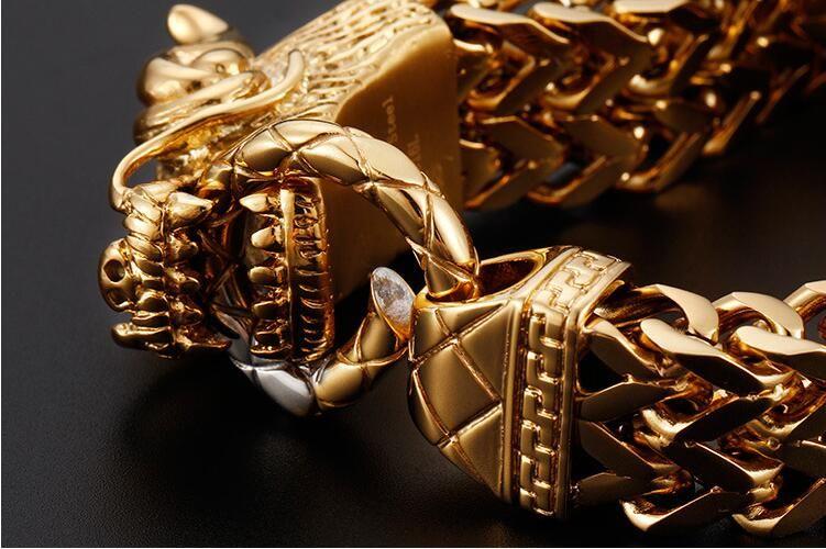 Punk Rock 25 CM Ejderha Başkanı Serin Erkek Bileklik Bilezik Altın Renk Paslanmaz Çelik Zincir Bağlantı Bilezik Erkekler Takı